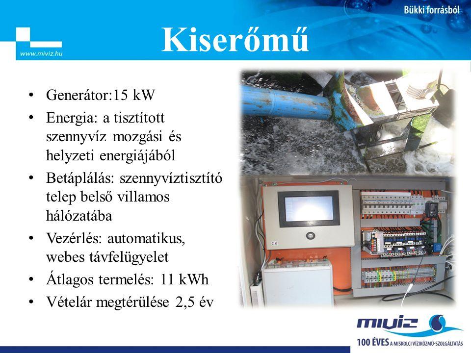 • Generátor:15 kW • Energia: a tisztított szennyvíz mozgási és helyzeti energiájából • Betáplálás: szennyvíztisztító telep belső villamos hálózatába • Vezérlés: automatikus, webes távfelügyelet • Átlagos termelés: 11 kWh • Vételár megtérülése 2,5 év