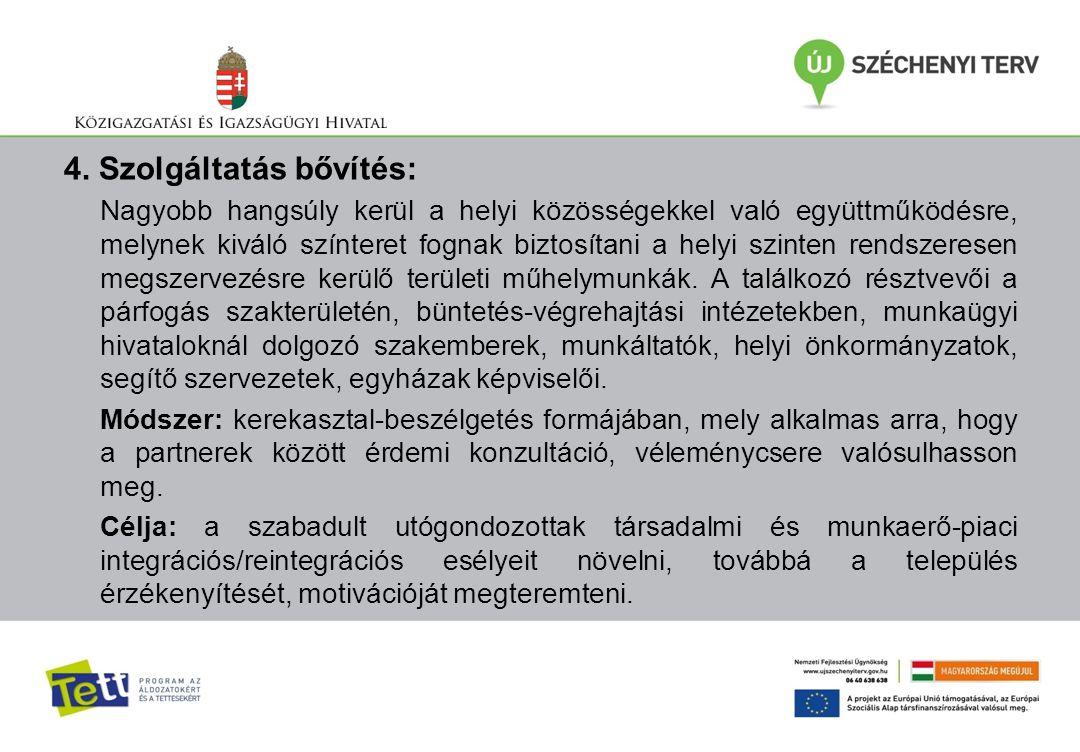 4. Szolgáltatás bővítés: Nagyobb hangsúly kerül a helyi közösségekkel való együttműködésre, melynek kiváló színteret fognak biztosítani a helyi szinte
