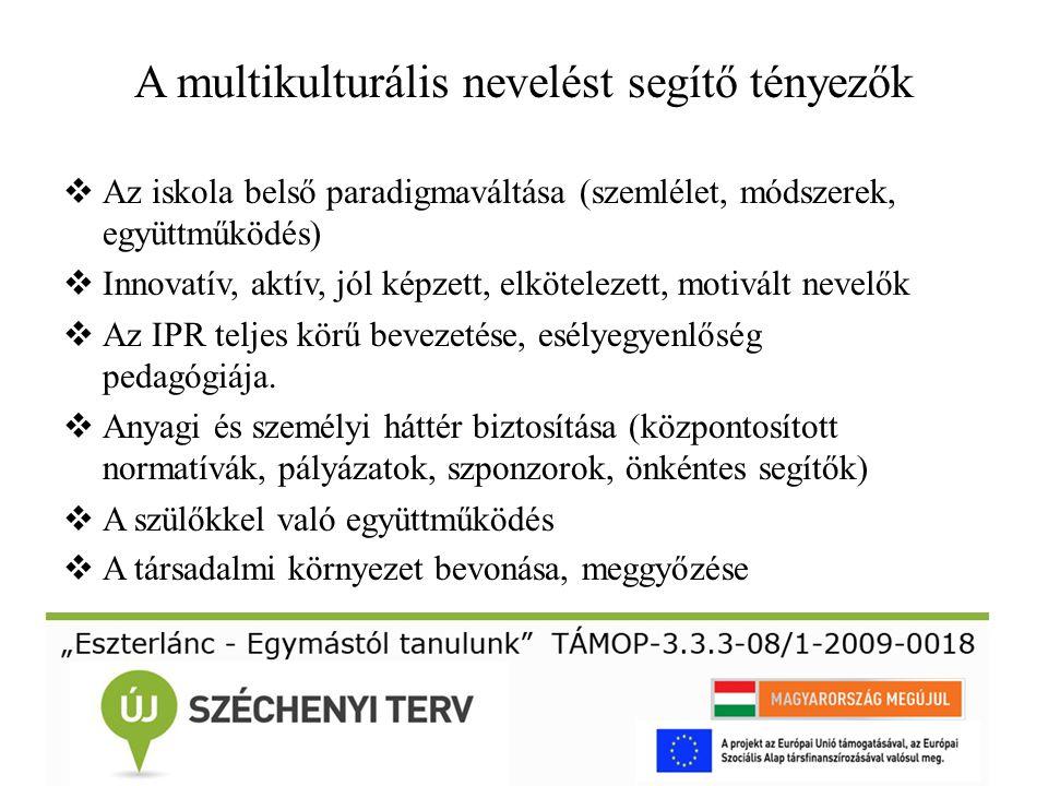 A multikulturális nevelést segítő tényezők  Az iskola belső paradigmaváltása (szemlélet, módszerek, együttműködés)  Innovatív, aktív, jól képzett, e