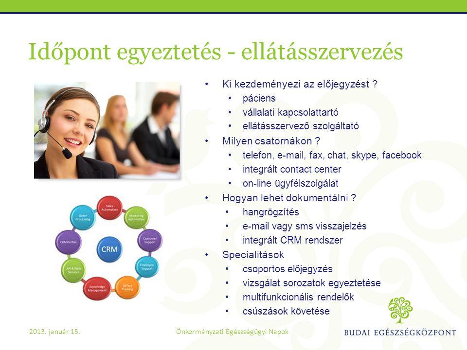 Időpont egyeztetés - ellátásszervezés •Ki kezdeményezi az előjegyzést ? •páciens •vállalati kapcsolattartó •ellátásszervező szolgáltató •Milyen csator