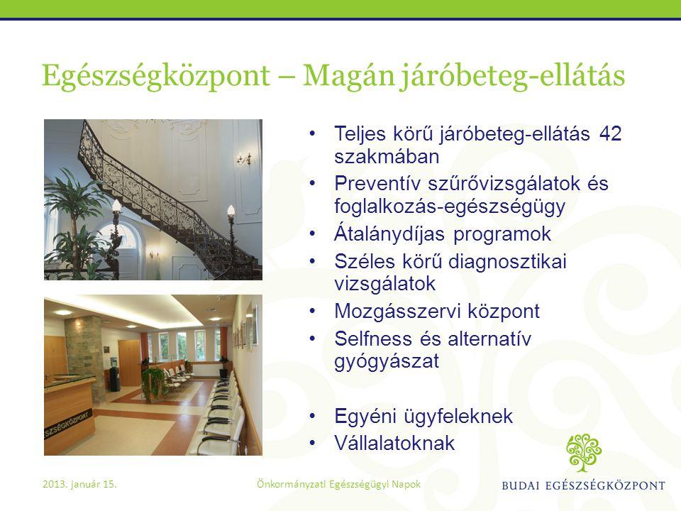 Egészségközpont – Magán járóbeteg-ellátás •Teljes körű járóbeteg-ellátás 42 szakmában •Preventív szűrővizsgálatok és foglalkozás-egészségügy •Átalányd