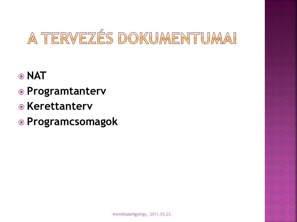  NAT  Programtanterv  Kerettanterv  Programcsomagok Homokszentgyörgy, 2011.03.23.