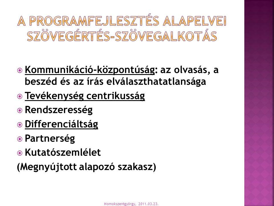  Kommunikáció-központúság: az olvasás, a beszéd és az írás elválaszthatatlansága  Tevékenység centrikusság  Rendszeresség  Differenciáltság  Partnerség  Kutatószemlélet (Megnyújtott alapozó szakasz) Homokszentgyörgy, 2011.03.23.