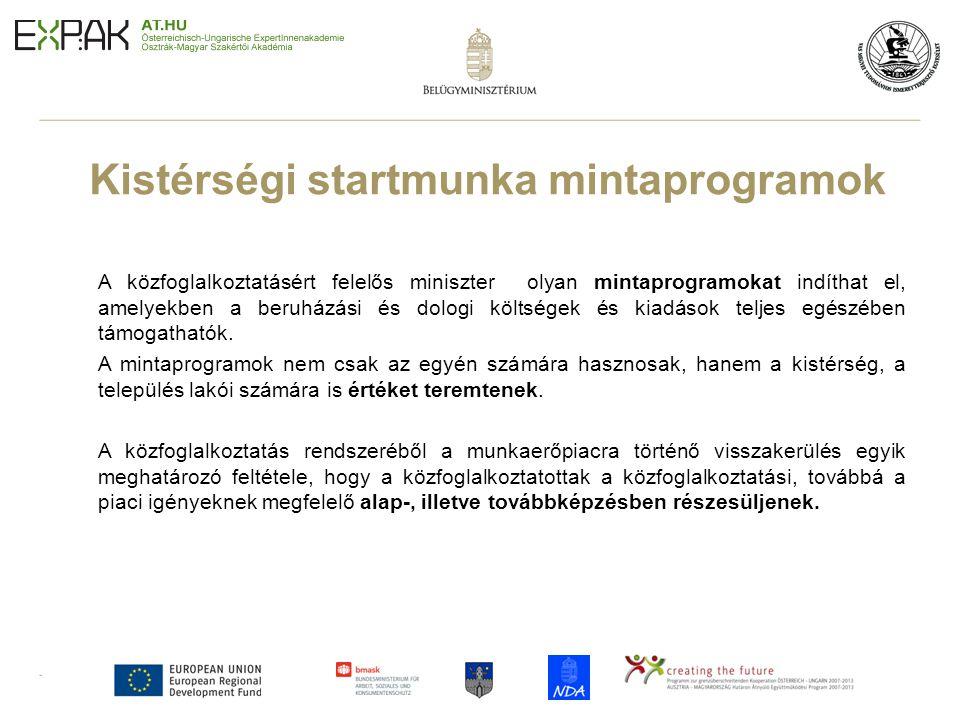 14 Kistérségi startmunka mintaprogramok A közfoglalkoztatásért felelős miniszter olyan mintaprogramokat indíthat el, amelyekben a beruházási és dologi