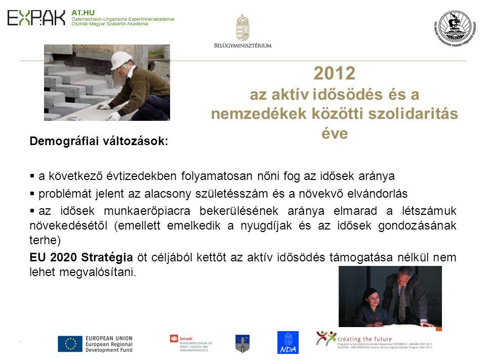 3 2012 az aktív idősödés és a nemzedékek közötti szolidaritás éve Demográfiai változások:  a következő évtizedekben folyamatosan nőni fog az idősek a