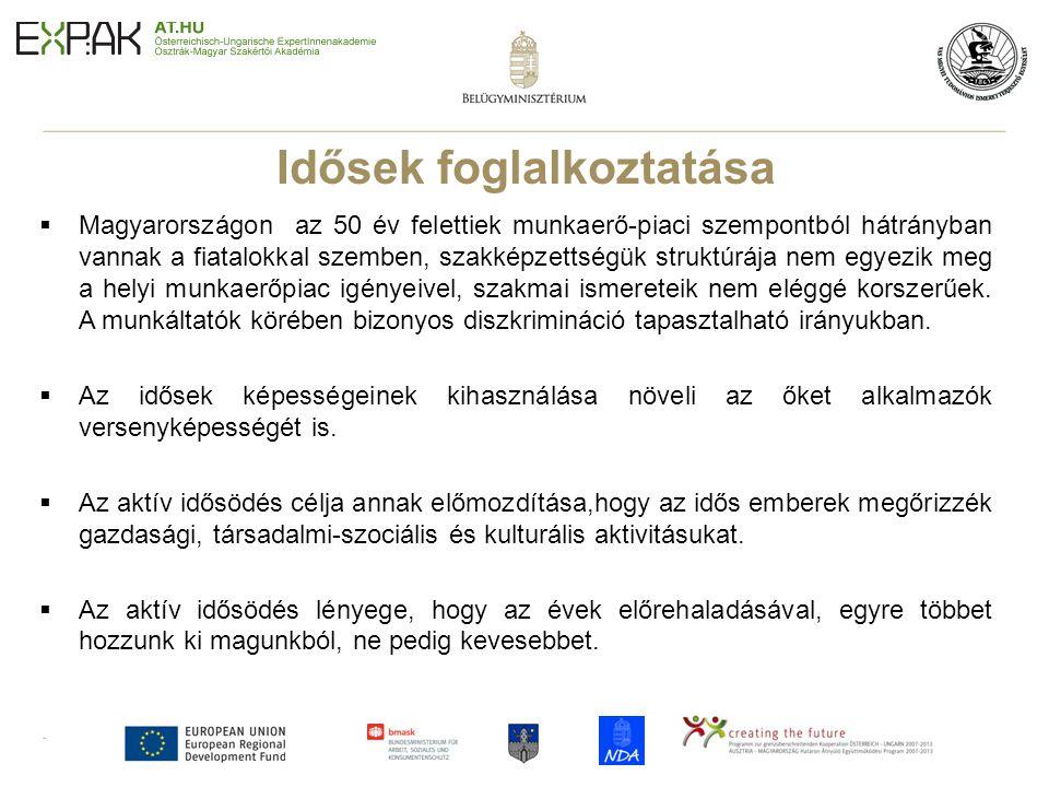 5 Idősek foglalkoztatása  Magyarországon az 50 év felettiek munkaerő-piaci szempontból hátrányban vannak a fiatalokkal szemben, szakképzettségük stru