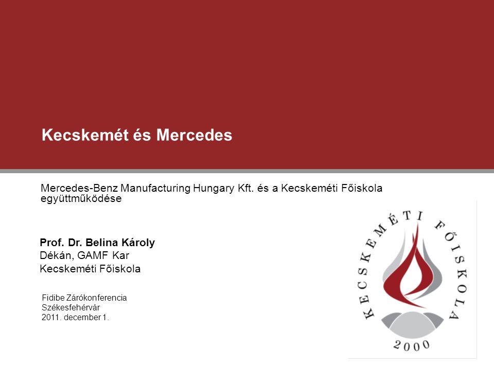 Kecskemét és Mercedes Mercedes-Benz Manufacturing Hungary Kft. és a Kecskeméti Főiskola együttműködése Fidibe Zárókonferencia Székesfehérvár 2011. dec