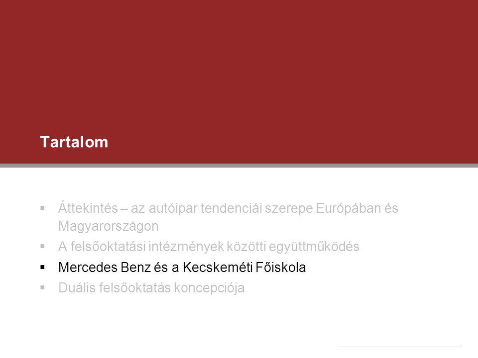 Tartalom  Áttekintés – az autóipar tendenciái szerepe Európában és Magyarországon  A felsőoktatási intézmények közötti együttműködés  Mercedes Benz