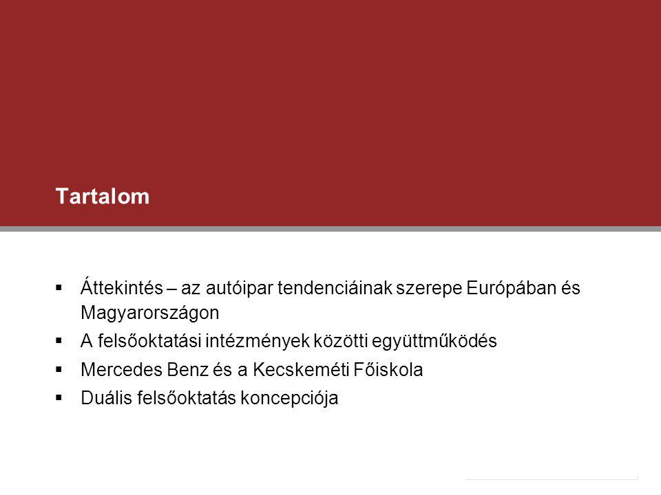 Tartalom  Áttekintés – az autóipar tendenciáinak szerepe Európában és Magyarországon  A felsőoktatási intézmények közötti együttműködés  Mercedes B