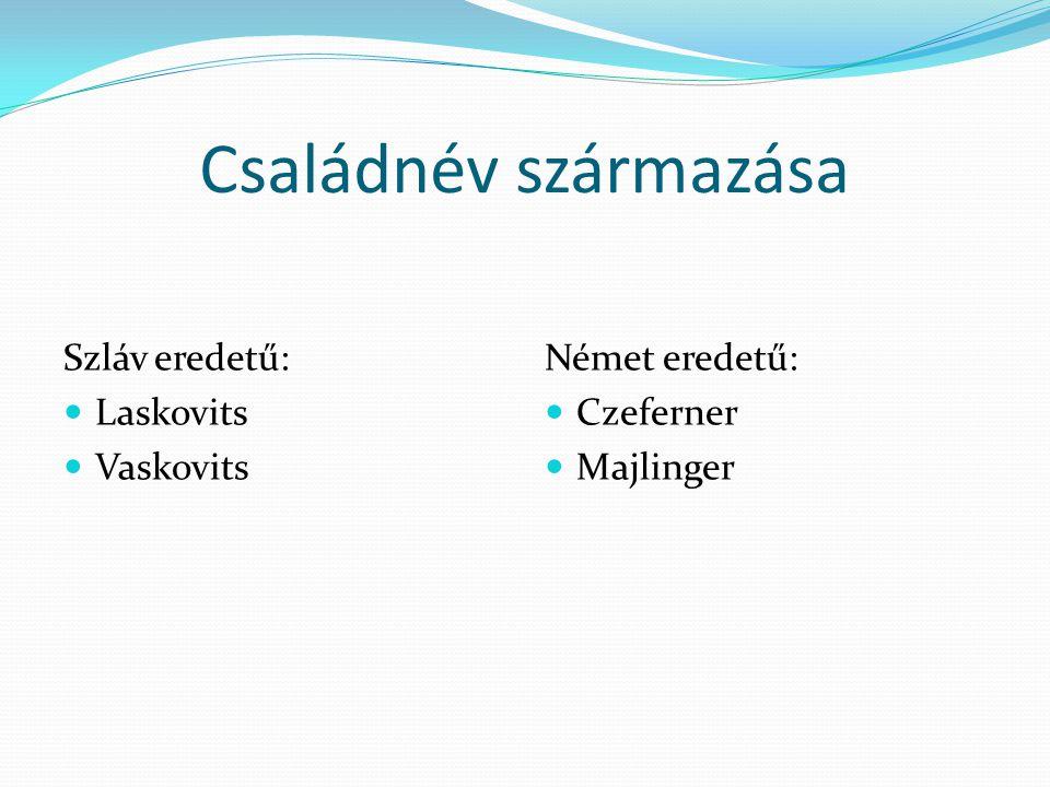 Családnév származása Szláv eredetű:  Laskovits  Vaskovits Német eredetű:  Czeferner  Majlinger