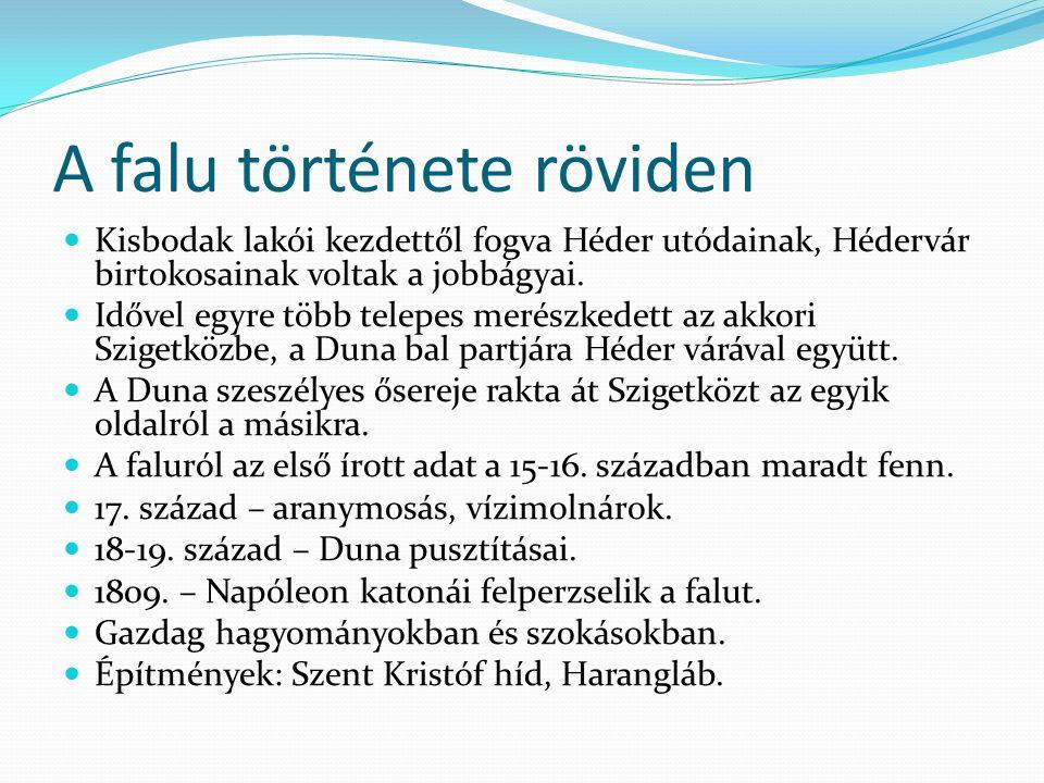 A falu története röviden  Kisbodak lakói kezdettől fogva Héder utódainak, Hédervár birtokosainak voltak a jobbágyai.  Idővel egyre több telepes meré