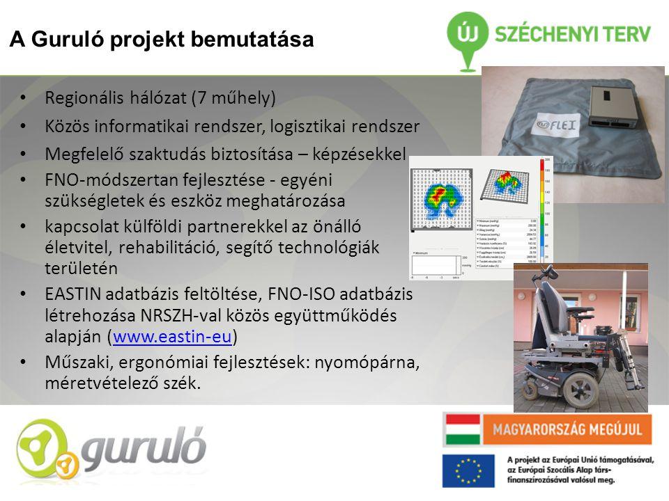 A Guruló projekt bemutatása • Regionális hálózat (7 műhely) • Közös informatikai rendszer, logisztikai rendszer • Megfelelő szaktudás biztosítása – képzésekkel • FNO-módszertan fejlesztése - egyéni szükségletek és eszköz meghatározása • kapcsolat külföldi partnerekkel az önálló életvitel, rehabilitáció, segítő technológiák területén • EASTIN adatbázis feltöltése, FNO-ISO adatbázis létrehozása NRSZH-val közös együttműködés alapján (www.eastin-eu)www.eastin-eu • Műszaki, ergonómiai fejlesztések: nyomópárna, méretvételező szék.