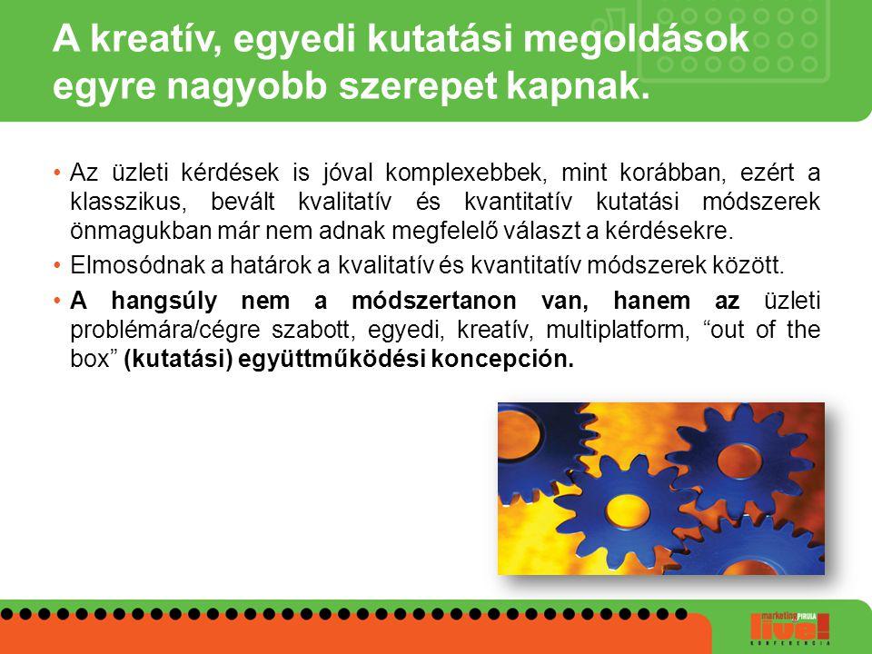 A kreatív, egyedi kutatási megoldások egyre nagyobb szerepet kapnak. •Az üzleti kérdések is jóval komplexebbek, mint korábban, ezért a klasszikus, bev