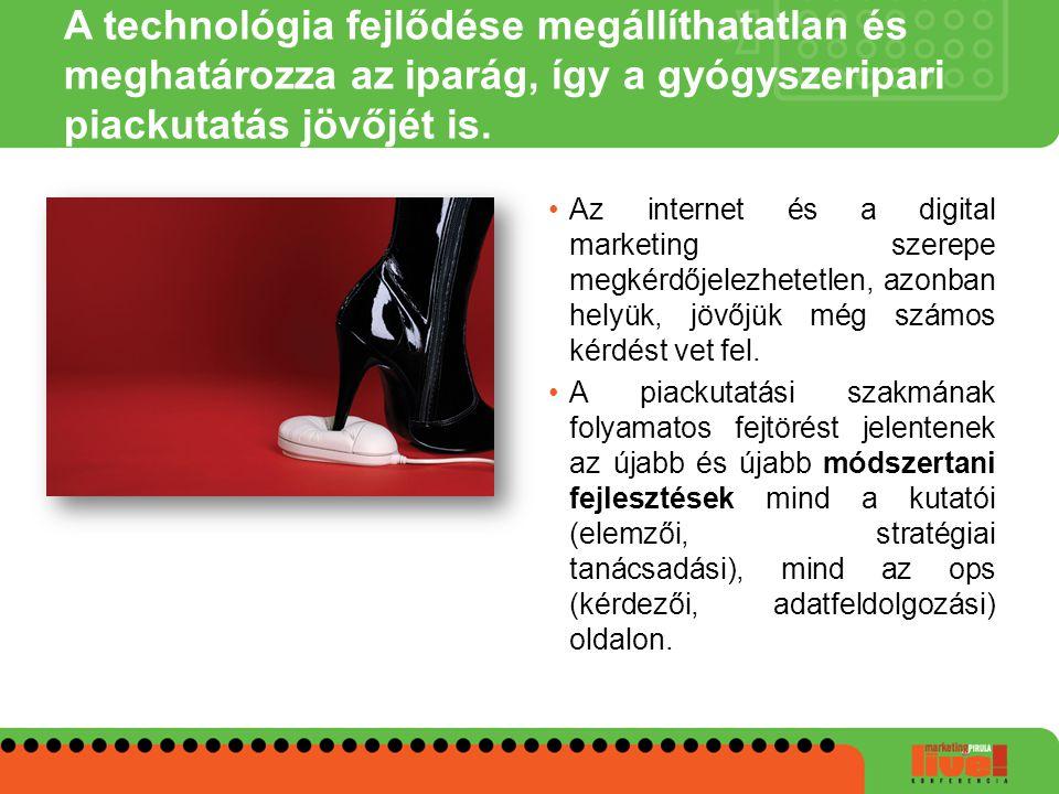 A technológia fejlődése megállíthatatlan és meghatározza az iparág, így a gyógyszeripari piackutatás jövőjét is. •Az internet és a digital marketing s