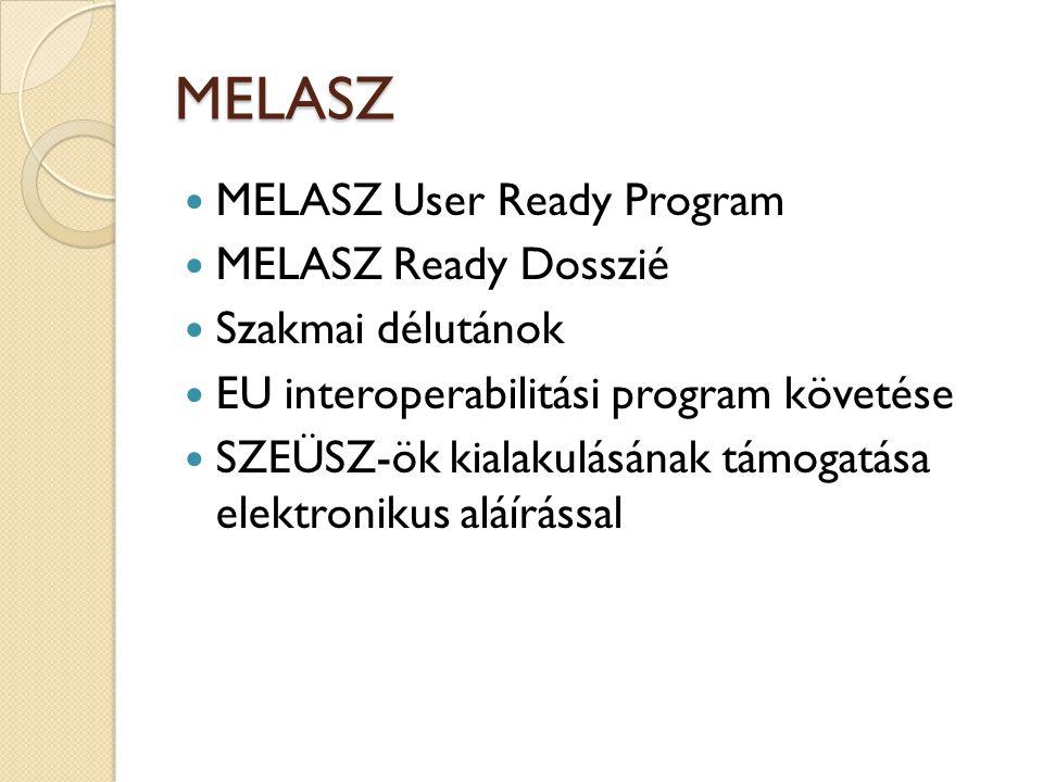 MELASZ  MELASZ User Ready Program  MELASZ Ready Dosszié  Szakmai délutánok  EU interoperabilitási program követése  SZEÜSZ-ök kialakulásának támogatása elektronikus aláírással