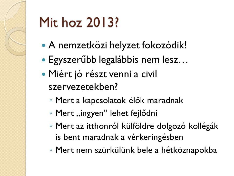 Mit hoz 2013?  A nemzetközi helyzet fokozódik!  Egyszerűbb legalábbis nem lesz…  Miért jó részt venni a civil szervezetekben? ◦ Mert a kapcsolatok