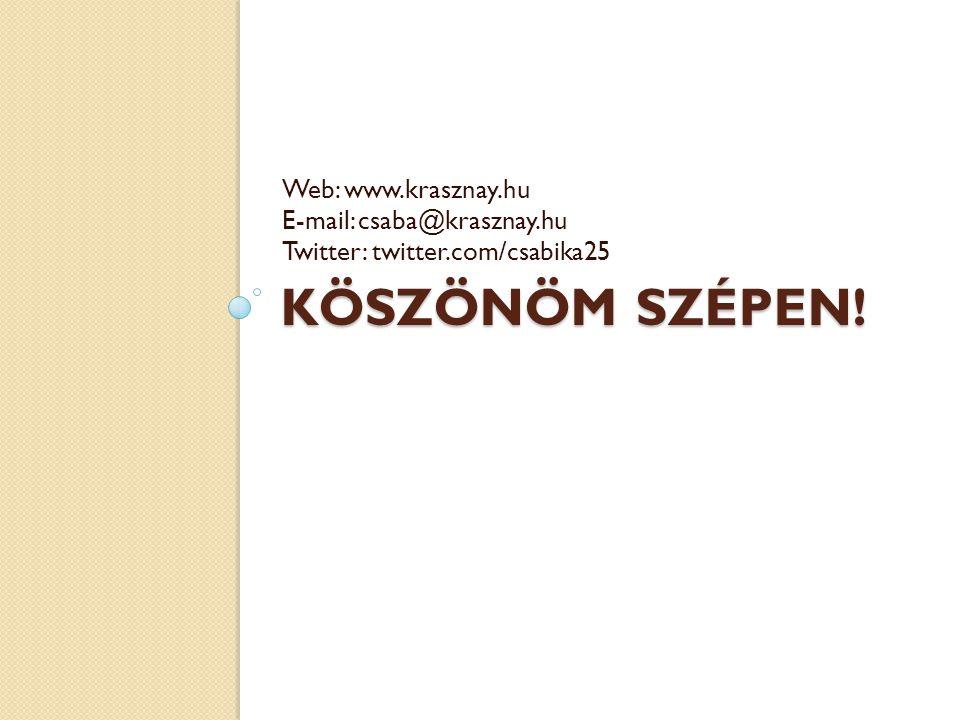 KÖSZÖNÖM SZÉPEN! Web: www.krasznay.hu E-mail: csaba@krasznay.hu Twitter: twitter.com/csabika25