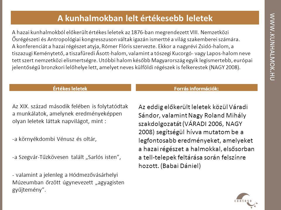 WWW. KUNHALMOK. HU A kunhalmokban lelt értékesebb leletek A hazai kunhalmokból előkerült értékes leletek az 1876-ban megrendezett VIII. Nemzetközi Ősr