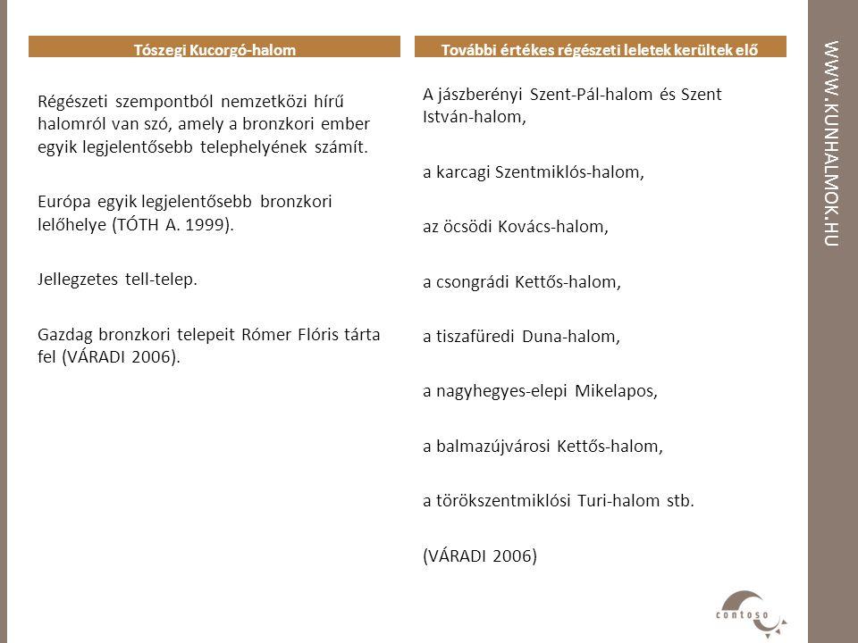 WWW. KUNHALMOK. HU Tószegi Kucorgó-halom Régészeti szempontból nemzetközi hírű halomról van szó, amely a bronzkori ember egyik legjelentősebb telephel