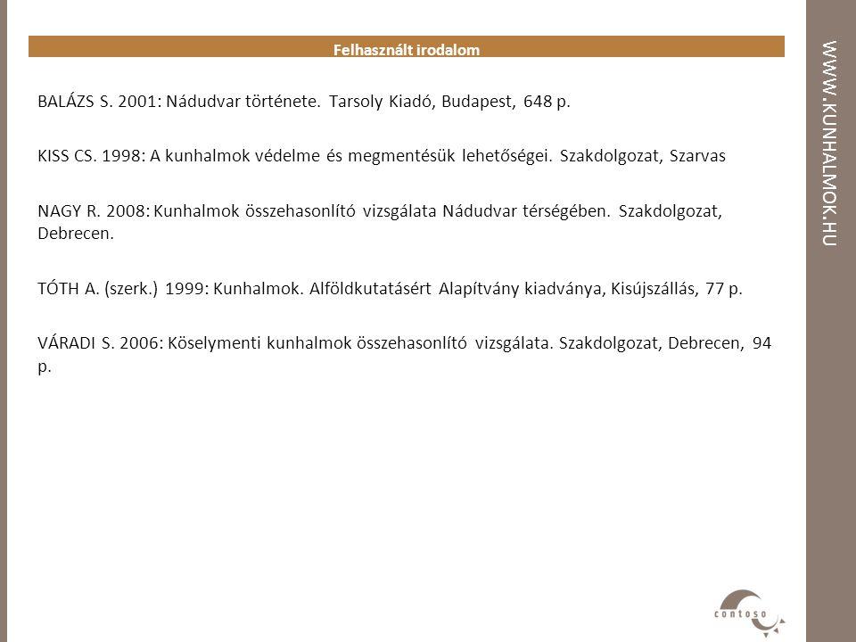 WWW. KUNHALMOK. HU Felhasznált irodalom BALÁZS S. 2001: Nádudvar története. Tarsoly Kiadó, Budapest, 648 p. KISS CS. 1998: A kunhalmok védelme és megm