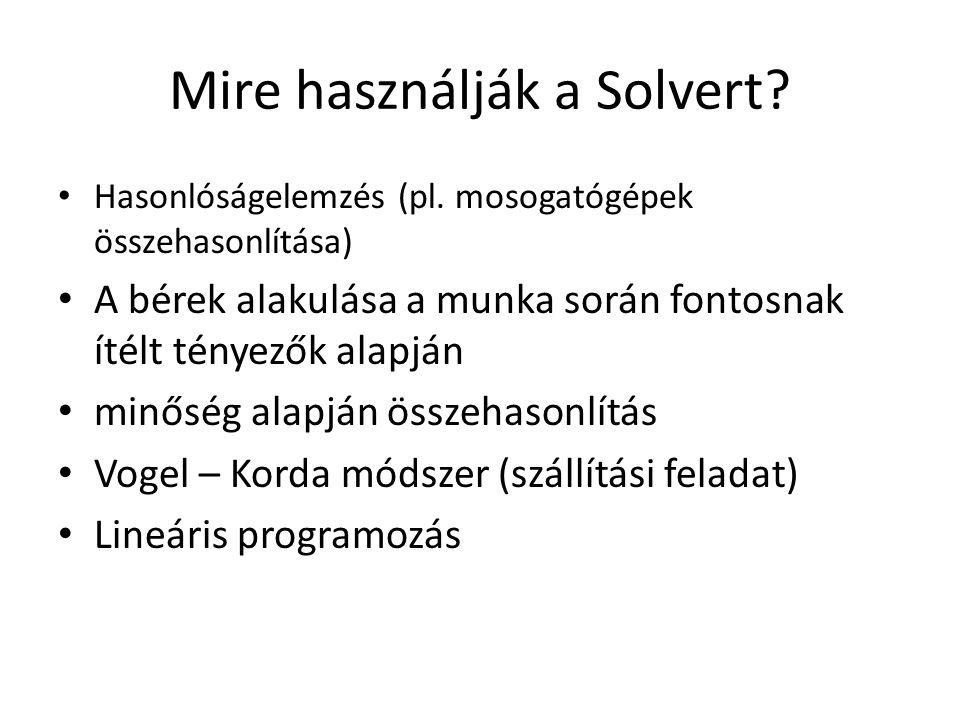 Mire használják a Solvert? • Hasonlóságelemzés (pl. mosogatógépek összehasonlítása) • A bérek alakulása a munka során fontosnak ítélt tényezők alapján
