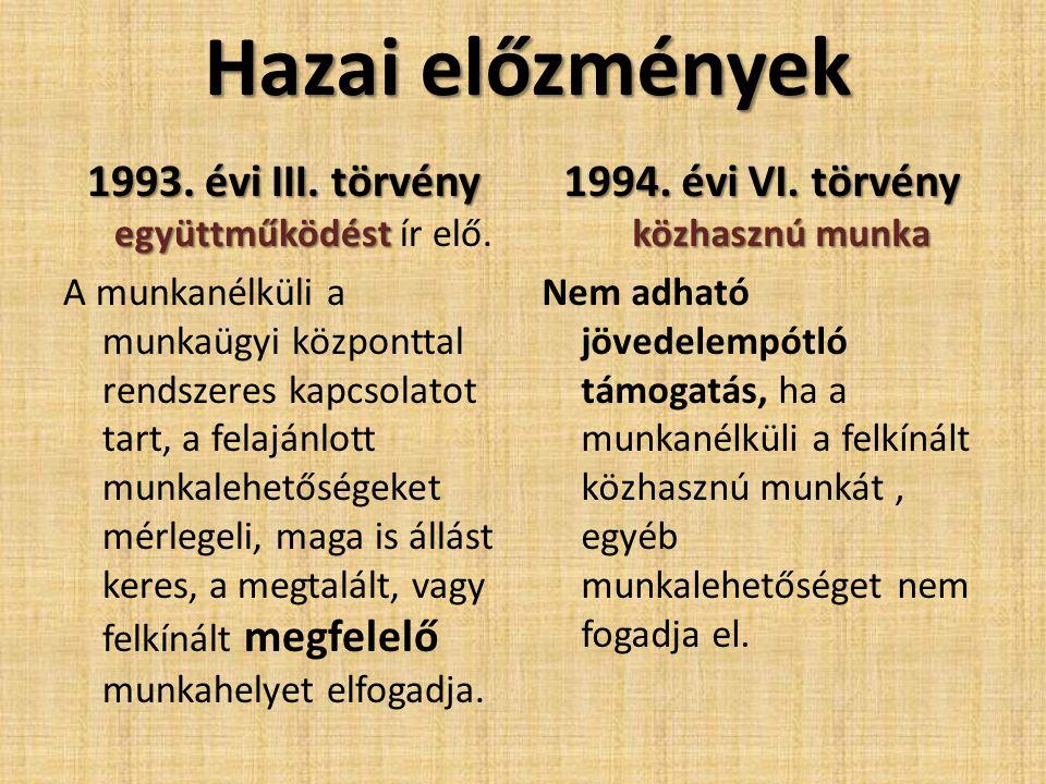 Hazai előzmények 1993. évi III. törvény együttműködést 1993. évi III. törvény együttműködést ír elő. A munkanélküli a munkaügyi központtal rendszeres