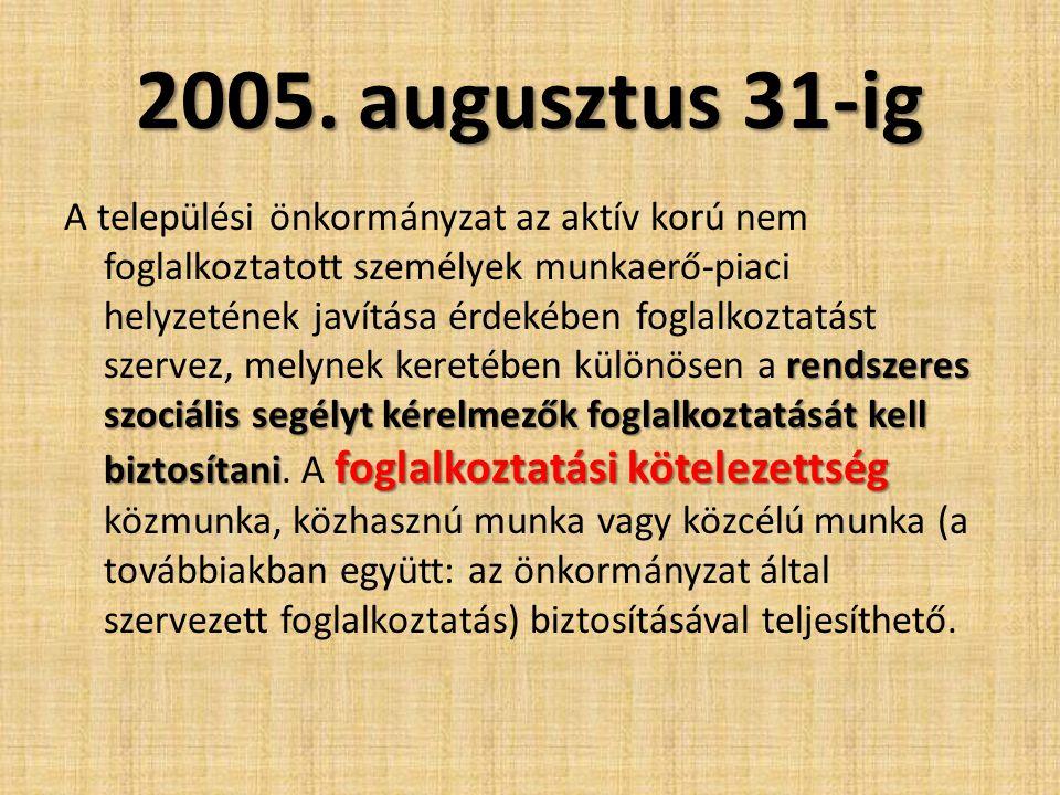2005. augusztus 31-ig rendszeres szociális segélyt kérelmezők foglalkoztatását kell biztosítani foglalkoztatási kötelezettség A települési önkormányza