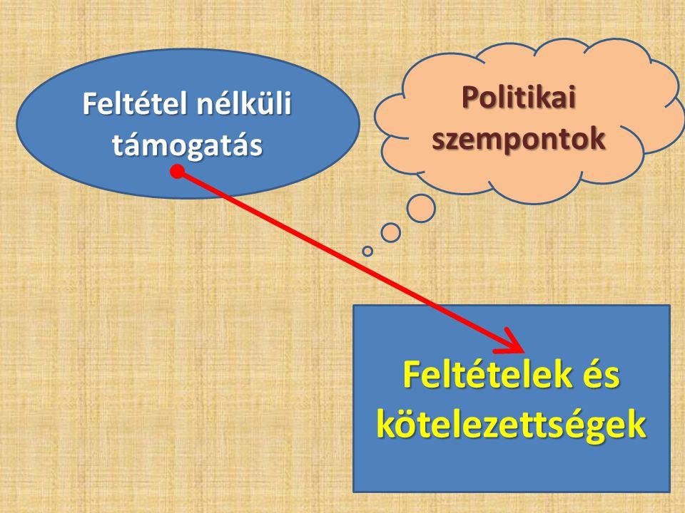 Feltétel nélküli támogatás Feltételek és kötelezettségek Politikai szempontok