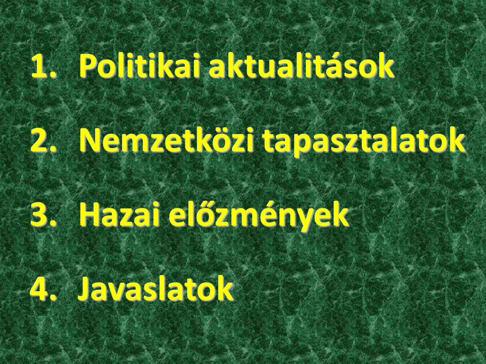 1.Politikai aktualitások 2.Nemzetközi tapasztalatok 3.Hazai előzmények 4.Javaslatok