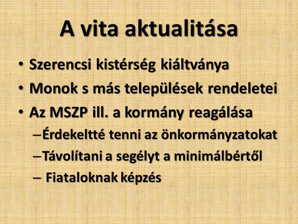 A vita aktualitása • Szerencsi kistérség kiáltványa • Monok s más települések rendeletei • Az MSZP ill. a kormány reagálása – Érdekeltté tenni az önko