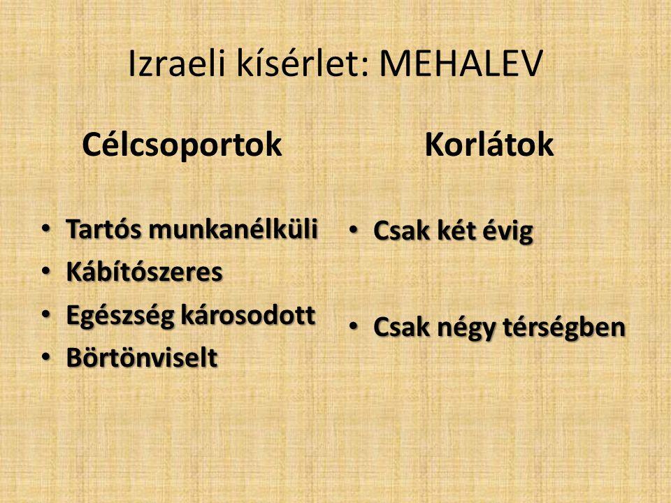 Izraeli kísérlet: MEHALEV Célcsoportok • Tartós munkanélküli • Kábítószeres • Egészség károsodott • Börtönviselt Korlátok • Csak két évig • Csak négy térségben