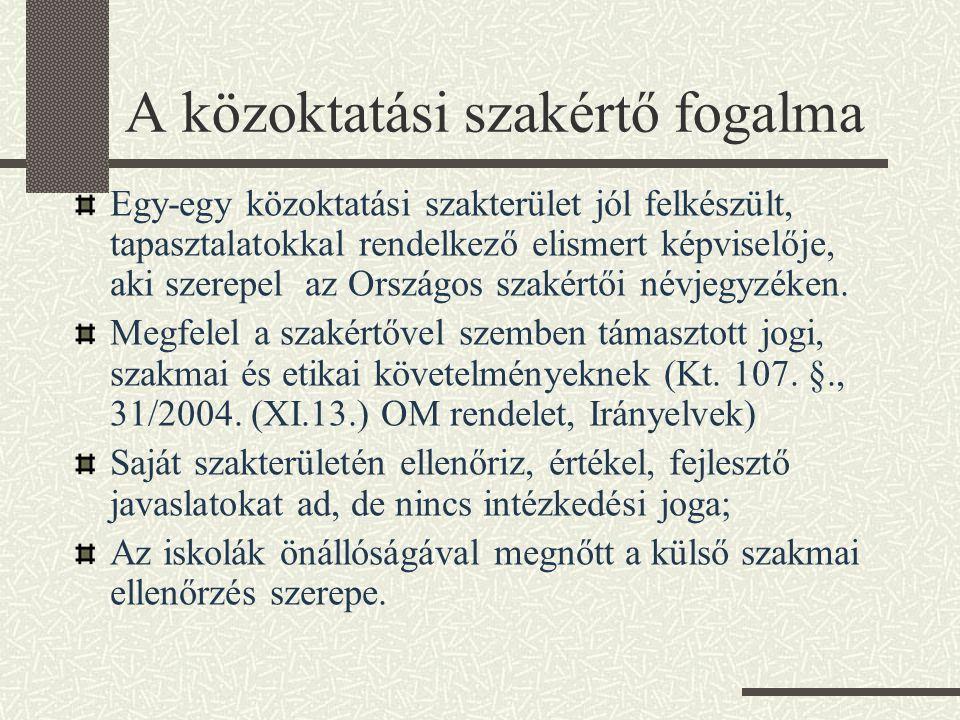 A közoktatási szakértő fogalma Egy-egy közoktatási szakterület jól felkészült, tapasztalatokkal rendelkező elismert képviselője, aki szerepel az Orszá
