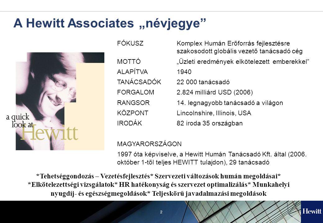 """2 A Hewitt Associates """"névjegye FÓKUSZ Komplex Humán Erőforrás fejlesztésre szakosodott globális vezető tanácsadó cég MOTTÓ""""Üzleti eredmények elkötelezett emberekkel ALAPÍTVA1940 TANÁCSADÓK22 000 tanácsadó FORGALOM2.824 milliárd USD (2006) RANGSOR14."""