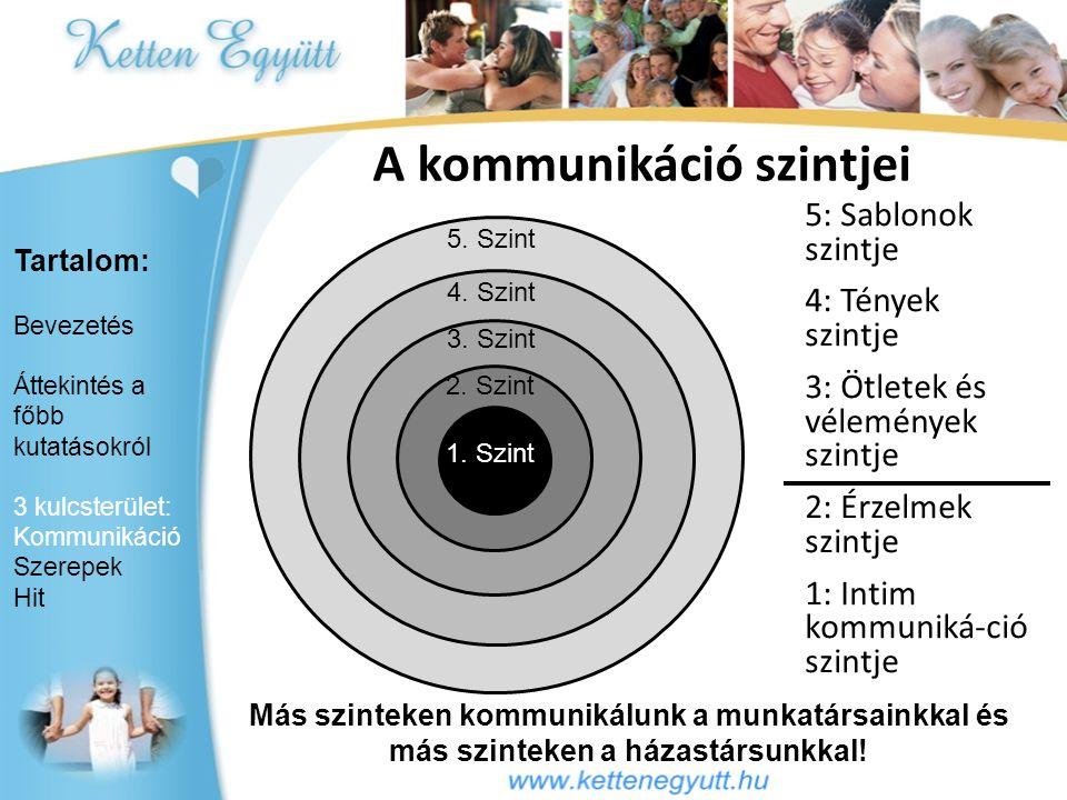 1. Szint 2. Szint 3. Szint 4. Szint 5. Szint A kommunikáció szintjei 5: Sablonok szintje 4: Tények szintje 3: Ötletek és vélemények szintje 2: Érzelme