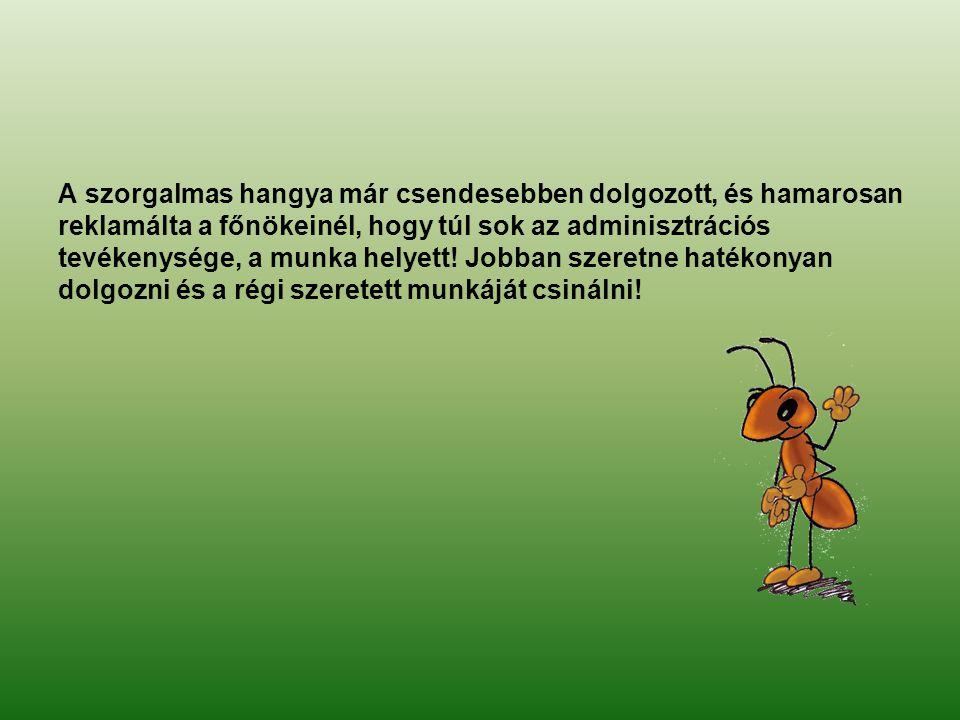 A szorgalmas hangya már csendesebben dolgozott, és hamarosan reklamálta a főnökeinél, hogy túl sok az adminisztrációs tevékenysége, a munka helyett! J
