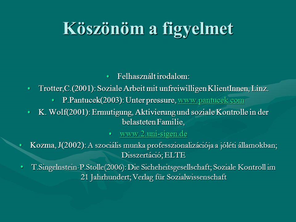 Köszönöm a figyelmet •Felhasznált irodalom: •Trotter,C.(2001): Soziale Arbeit mit unfreiwilligen KlientInnen, Linz. •P.Pantucek(2003): Unter pressure,