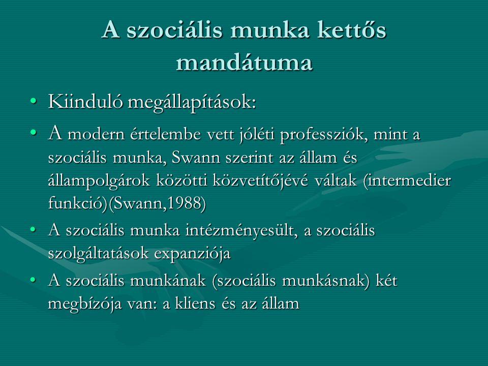 A szociális munka kettős mandátuma •Kiinduló megállapítások: •A modern értelembe vett jóléti professziók, mint a szociális munka, Swann szerint az áll