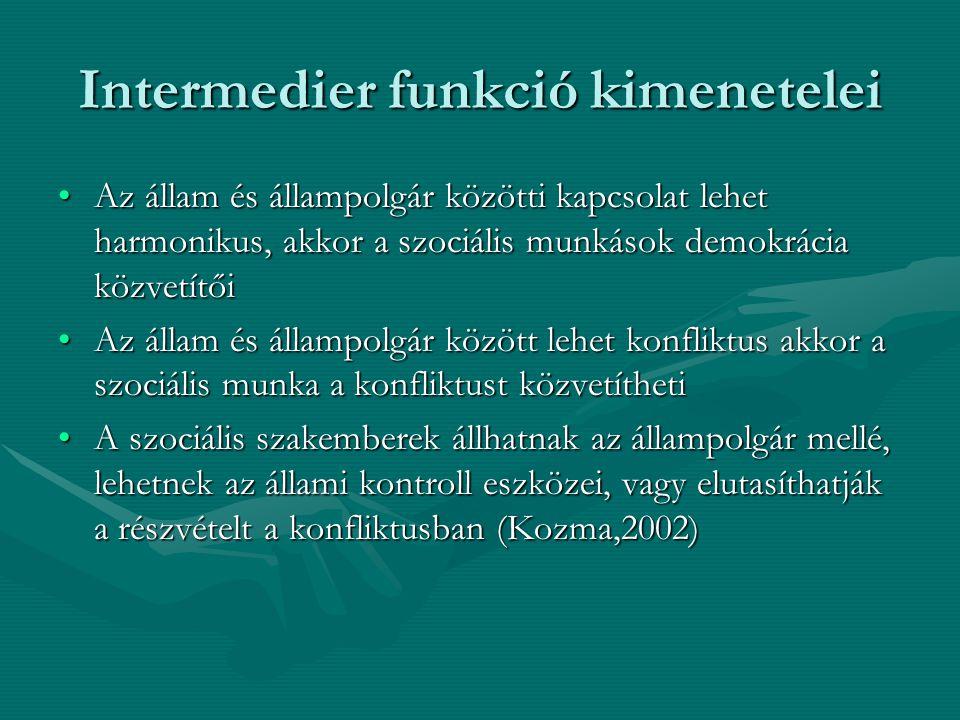 Intermedier funkció kimenetelei •Az állam és állampolgár közötti kapcsolat lehet harmonikus, akkor a szociális munkások demokrácia közvetítői •Az álla