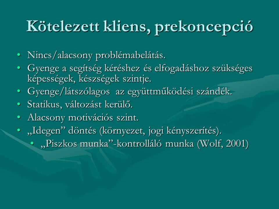 Kötelezett kliens, prekoncepció •Nincs/alacsony problémabelátás. •Gyenge a segítség kéréshez és elfogadáshoz szükséges képességek, készségek szintje.