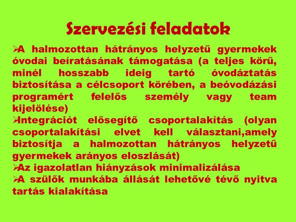 Szervezési feladatok  A halmozottan hátrányos helyzetű gyermekek óvodai beíratásának támogatása (a teljes körű, minél hosszabb ideig tartó óvodáztatá