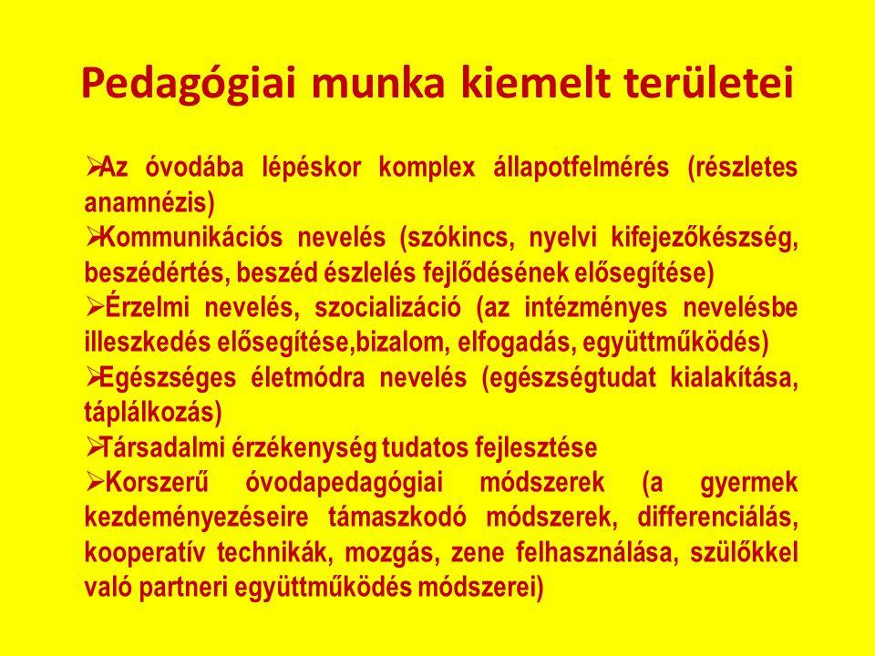 Pedagógiai munka kiemelt területei  Az óvodába lépéskor komplex állapotfelmérés (részletes anamnézis)  Kommunikációs nevelés (szókincs, nyelvi kifej