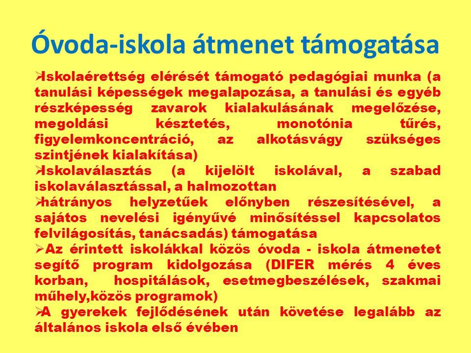 Óvoda-iskola átmenet támogatása  Iskolaérettség elérését támogató pedagógiai munka (a tanulási képességek megalapozása, a tanulási és egyéb részképes