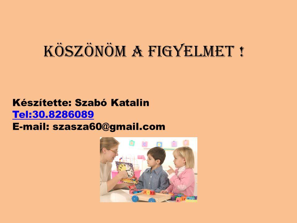 KÖSZÖNÖM A FIGYELMET ! Készítette: Szabó Katalin Tel:30.8286089 E-mail: szasza60@gmail.com