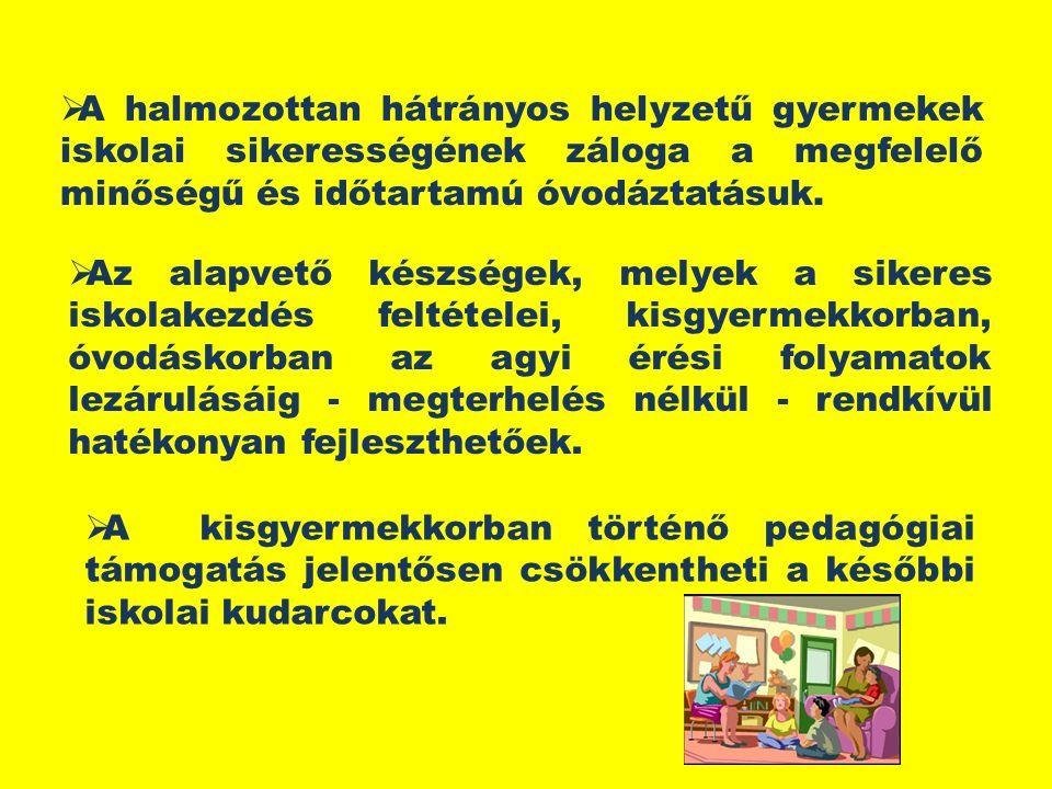  A halmozottan hátrányos helyzetű gyermekek iskolai sikerességének záloga a megfelelő minőségű és időtartamú óvodáztatásuk.