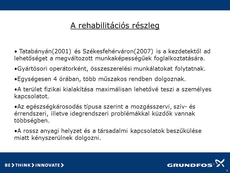 2 A rehabilitációs részleg • Tatabányán(2001) és Székesfehérváron(2007) is a kezdetektől ad lehetőséget a megváltozott munkaképességűek foglalkoztatására.