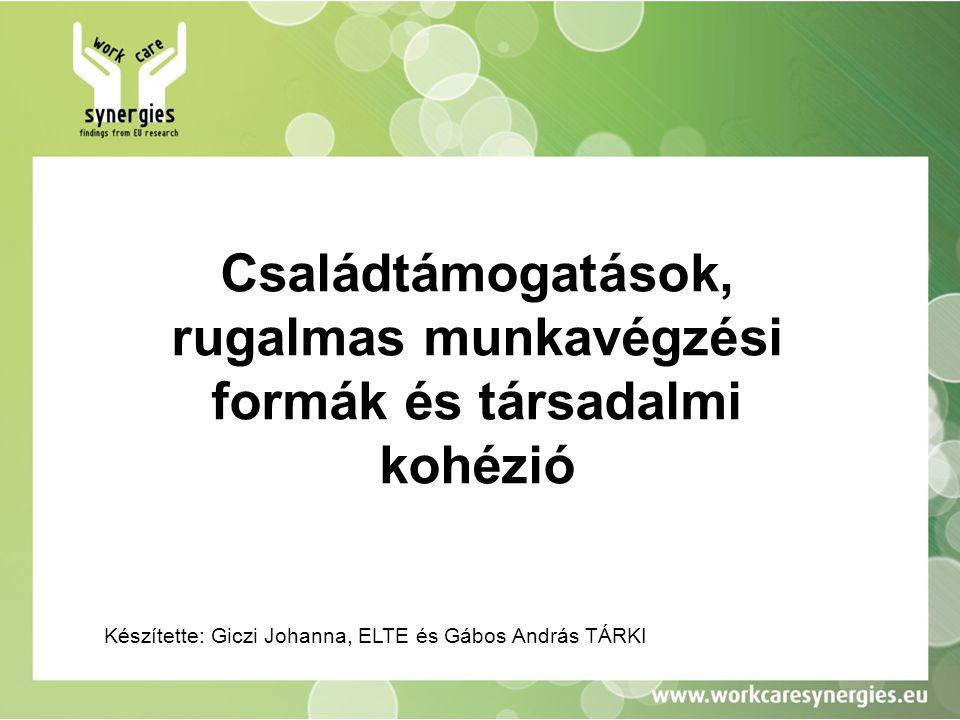 Családtámogatások, rugalmas munkavégzési formák és társadalmi kohézió Készítette: Giczi Johanna, ELTE és Gábos András TÁRKI
