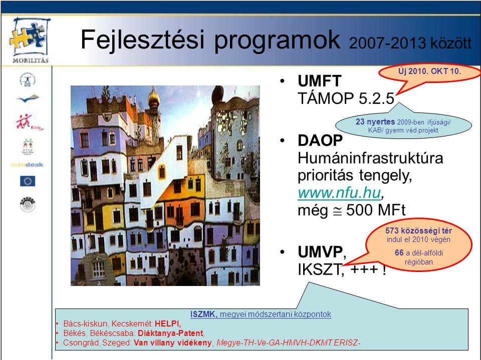 Fejlesztési programok 2007-2013 között •UMFT TÁMOP 5.2.5 •DAOP Humáninfrastruktúra prioritás tengely, www.nfu.hu, még  500 MFt www.nfu.hu •UMVP, IKSZ