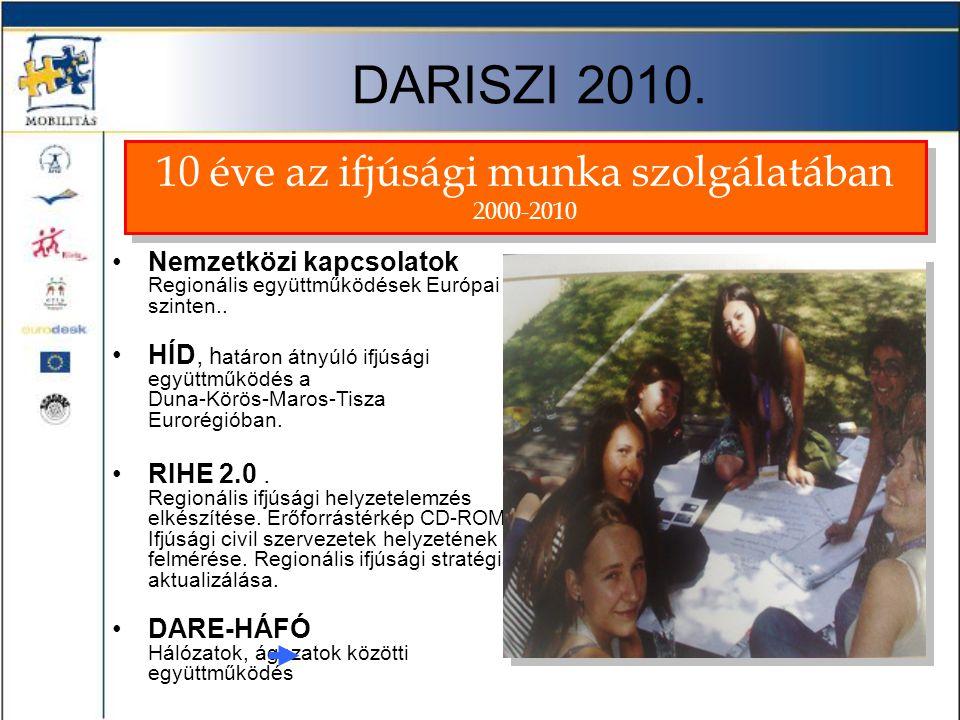 DARISZI 2010. •Nemzetközi kapcsolatok Regionális együttműködések Európai szinten.. •HÍD, h atáron átnyúló ifjúsági együttműködés a Duna-Körös-Maros-Ti