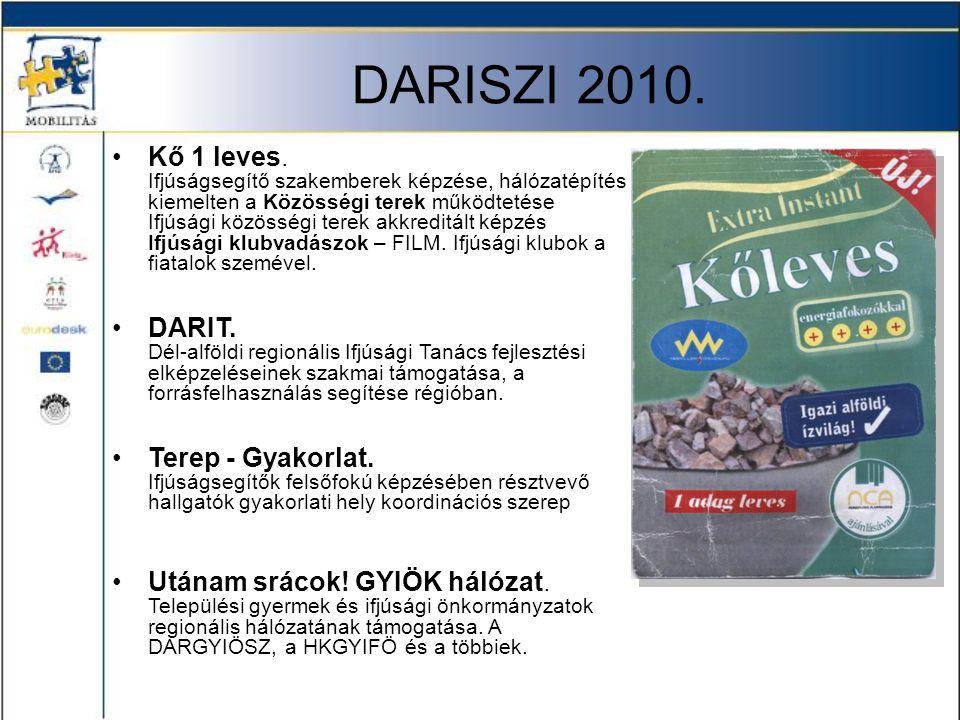 DARISZI 2010. •Kő 1 leves. Ifjúságsegítő szakemberek képzése, hálózatépítés kiemelten a Közösségi terek működtetése Ifjúsági közösségi terek akkreditá