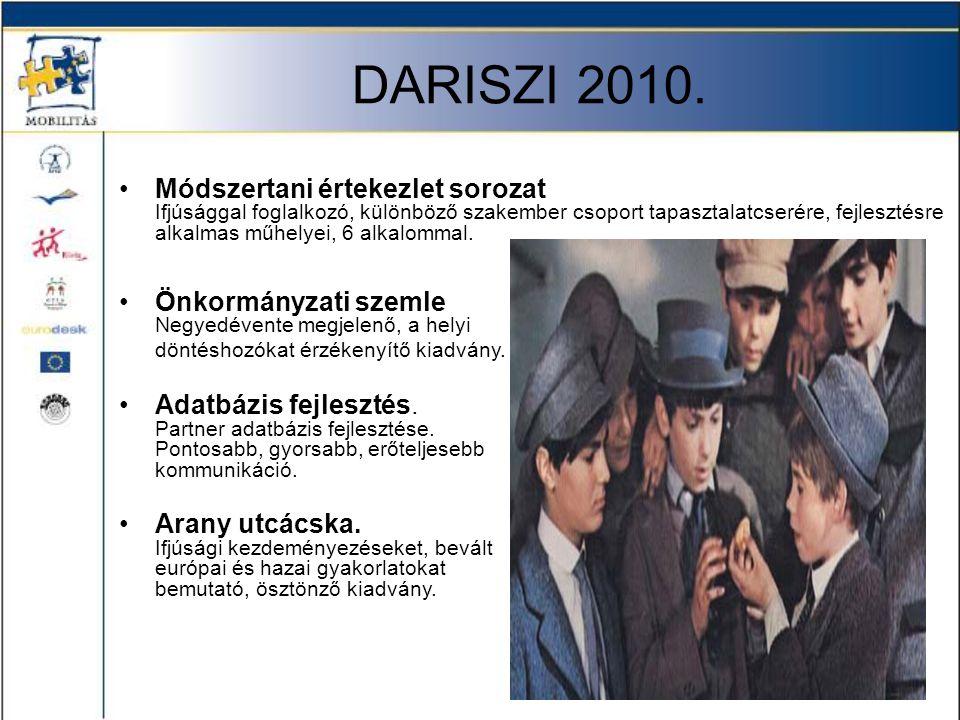 DARISZI 2010. •Önkormányzati szemle Negyedévente megjelenő, a helyi döntéshozókat érzékenyítő kiadvány. •Adatbázis fejlesztés. Partner adatbázis fejle